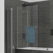 Kudos Inspire 2 Panel 8mm In-Swing Bath Screen & Rail 950mm Left Hand