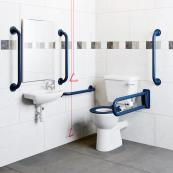 Doc M Close Coupled Lever WC With Blue Rails