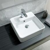 Poppy Freestanding Square Basin White 380 x 380mm 1 Tap Hole