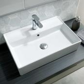 Molly Freestanding Square Basin White 560 x 380mm 1 Tap Hole