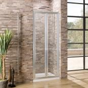 Oceana Crystal 6mm Bifold Door 900mm with Crystal Clear Glass