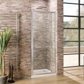 Oceana Crystal 6mm Hinged Pivot Door 760mm with Crystal Clear Glass