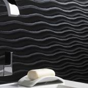 Showerwall Bathroom Cladding Black Wave 2440 x 1000mm