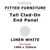 Tavistock Fitted Tall Clad-On End Panel Linen White 1900 x 220mm Slim Depth