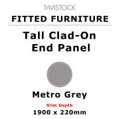 Tavistock Fitted Tall Clad-On End Panel Metro Grey 1900 x 220mm Slim Depth